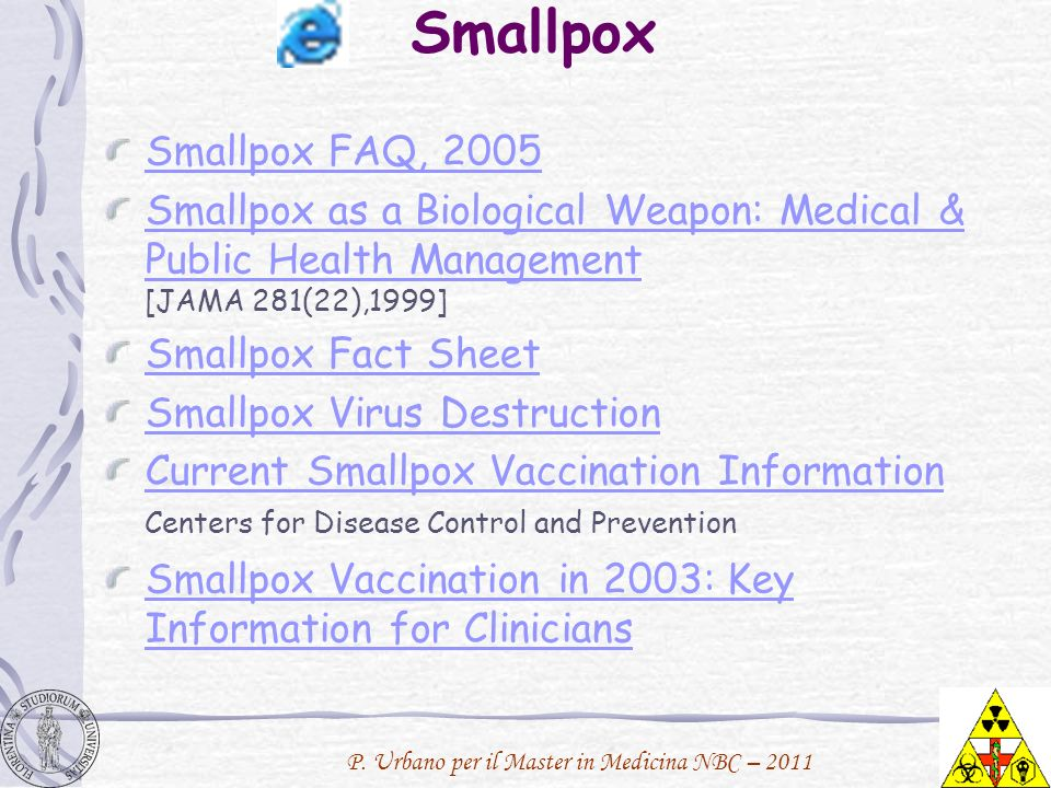 Smallpox Smallpox FAQ, 2005. Smallpox as a Biological Weapon: Medical & Public Health Management [JAMA 281(22),1999]